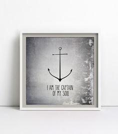 I am the captain of my soul, silver Poster 30x30cm von goodgirrrl auf DaWanda.com