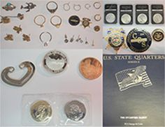 Jewelry and coins found on 8/26/2016 by Atherton PD Case #16-427. Questions can go to Atherton PD at 650-688-6500.