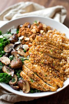 Parmesan Chicken with Sun-Dried Tomato Cous Cous and Garlic Veggies