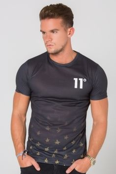 11 Degrees - Hem Star Fade Sub Tee - Black | We love the subtle graphic fade on this fresh new tee from 11 Degrees. Style with black skinnies and a bomber for a perfect look for a night out. Shop Now @ Urban Celebrity!