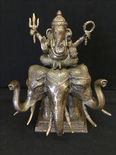 Bronze Ganeha on a 3 headed elephant. Thailand. 20th cent.