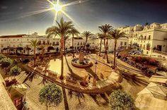 Plaza de Espana, #vejerdelafrontera #andalucía #españa #andalucia #spain #vejer #plaza #plazadeespaña #stephencandler #provinciadecádiz #provinciadecadiz #costadelaluz #palms #square #sun #shadows #fisheye #wideangle