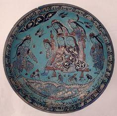 Abu Zayd Kashani کاسه سفالی، کاشان، رقم اَبوزِيدِ كاشاني، سنه 582 هجری قمری Bowl Abu Zayd Date: dated A.H. 582/ A.D. 1186 Geography: Iran Medium: Stonepaste; polychrome in-glaze and overglaze painted on an opaque monochrome glaze (mina'i) Dimensions: H. 3 3/16 in. (8.1 cm) Diam. of rim: 8 1/2 in. (21.6 cm)