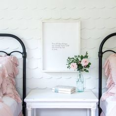 This scalloped wall that Chip built for the Morgans' daughters' room brought the perfect amount of whimsy.