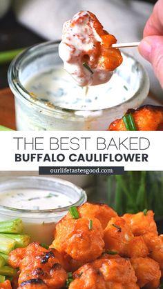 Veggie Dinners, Veggie Recipes, Snack Recipes, Healthy Recipes, Party Snacks, Keto Snacks, Party Party, Baked Buffalo Cauliflower, Keto Cauliflower