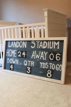 "DIY Vintage Scoreboard, boy room, baby boy nursery, sports theme nursery boy first"" girl names nursery stuff Baby Boy Nursery Themes, Baby Boy Room Decor, Baby Boy Rooms, Baby Boy Nurseries, Room Baby, Nursery Ideas, Kids Rooms, Vintage Sports Nursery, Sports Themed Nursery"
