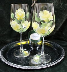 Set of 2 Hand Painted Wine Glasses - Yellow Roses