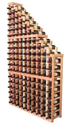 Wooden 144 Bottle Waterfall Style Wine Cellar Rack Kit (Ponderosa Pine) by Wine Racks America®. $434.37. Proudly Made in the USA. Lifetime Warranty.. A beautiful cascading waterfall of wine bottle dsplays. Create a spectacle of 9 of your favorite vintages. Designed within our modular specifications and to Wine Racks America's superior product standards, you'll be satisfied. We guarantee it.. Constructed of Furniture Grade Ponderosa Pine. Simple Assembly May be Required...