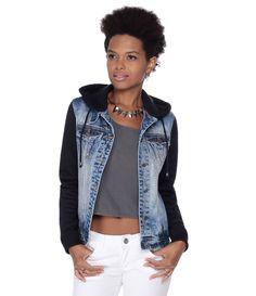 Jaqueta Feminina em Jeans com Capuz e Mangas em Moletom - Lojas Renner