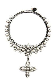Swarovski white pearls small cross necklace | CATE Atelier