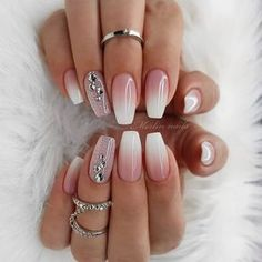 30 sexy nail art design 2019 Pink And White Nails Provide organic texture to protect your health and Provide You Hotting colors optional, suitable for all occasions. 110 Cute Short Acrylic cool and trendy cool and trendy stile Sexy Nail Art, Sexy Nails, Prom Nails, Nails 2018, White Nail Designs, Acrylic Nail Designs, Nail Art Designs, Nails Design, Indian Nail Designs