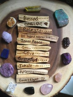 Crystals and Wood Natural Healing, Crystal Healing, Chakras, Smudge Sticks, Book Of Shadows, Custom Wood, Pyrography, Wood Burning, Witchcraft