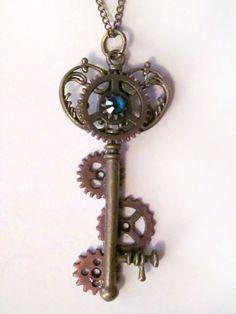 Steampunk Key Clock Gears Necklace by PhoenixEchoCreations on Etsy, $25.00