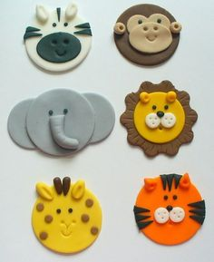 12 Edible Fondant Safari Jungle Zoo Animal by SugarKissCakeToppers, $24.00