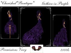 Second Life Marketplace - *Cherished*Boutique*Gothica in Purple Wedding Dress