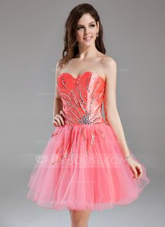 A-Line/Princess Sweetheart Short/Mini Taffeta Tulle Homecoming Dress With Ruffle Beading Sequins