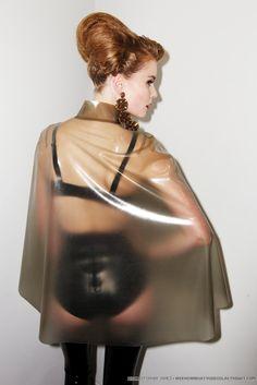 Latex cape. I'm thinking Atsuko Kudo.