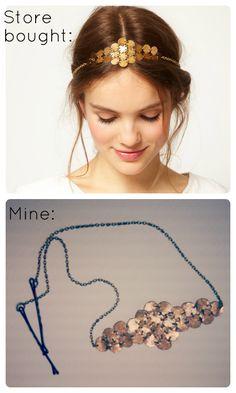 Accesorio para el pelo de cadenas   -   diy chain hair accessory  So cute!