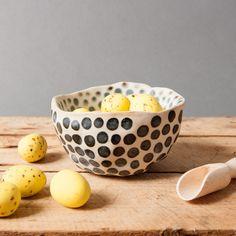 bowl gray dots danish vessel unique keramik ceramics handmade by eeliethel scandinavian studio pottery decor