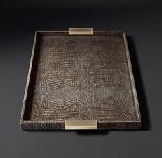 Crocodile Leather Tray - Anthracite