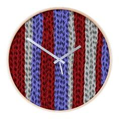knitted blue red D Wall Clock > abstract/colorful/fractal > MehrFarbeimLeben