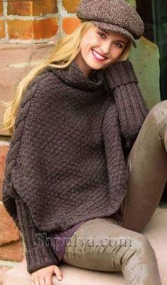 Вязаный пуловер-накидка спицами