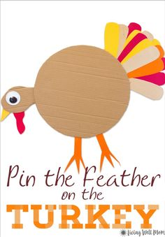 Here's fun twist on a classic party game - the whole family will love this Thanksgiving version - Pin the Tail / Feather on the Turkey! Spiel Pin the Tail on the Turkey Fall Party Games, Bridal Party Games, Princess Party Games, Backyard Party Games, Holiday Games, Holiday Decorations, Thanksgiving Activities For Kids, Thanksgiving Parties, Holiday Activities
