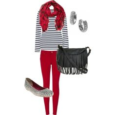 Another Red Jeans Outfit! Ditch that disgusting purse, but the outfit is super cute!