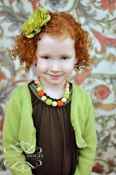 Wooden and Crochet Necklace for little girls