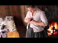 """Women's Clothing at Colonial Michilimackinac"" (Mackinac State Historic Parks, posted 16 April 2016). Historic interpreter LeeAnn demonstrates how a woman at Colonial Michilimackinac in the 1770s would have gotten dressed. Michigan."