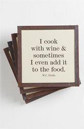 Ben's Garden 'I Cook with Wine' Coaster Set