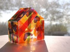 Pink Stripey Socks: Make a stained glass house using cellophane