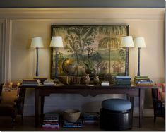 This is a wonderful painting for a British Colonial room. I love the faux bamboo lamps. This vignette looks like it was collected during many travels.