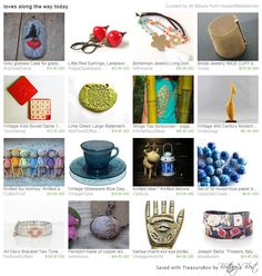 FWB Team Treasury featuring glasses case, red earrings, bohemian jewelry, statement bracelet, vintage game, turquoise t-shirt, mid century modern, toy monkey, vintage glassware, knitted deer, blue beads, art deco bracelet, copper necklace, hamsa hand, wrap bracelet
