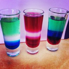 Flag Shots The flags of Sierra Leone, Latvia and Gambia  Shot 1: blue curaçao, mint schnapps, midori, 7up. Shot 2: grenadine, peach schnapps, uv cherry,. Shot 3: grenadine, blue curaçao, mint liqueurs, 7up.