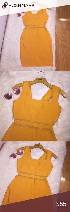 "Gorgeous! Orange Bodycon Dress Gorgeous orange, bodycon dress! Size small. Brand new. 25"" long from armpit to hem. 15"" from armpit to armpit. Very stretchy. Mesh waistline, makes this dress HOT! Perfect for spring & summer! ☀️ Dresses Mini"