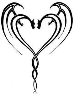 Double Heart Tattoo Designs Double dragon heart by Small Dragon Tattoos, Chinese Dragon Tattoos, Small Tattoos, Celtic Dragon Tattoos, Dragon Henna, Dragon Art, Dragon Crafts, Tribal Tattoos, Body Art Tattoos