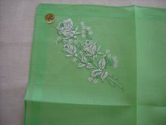 Vintage Kelly Green Handkerchief with White Roses Made in Switzerland NOS with Tag by LeapofFaithCraftVin on Etsy