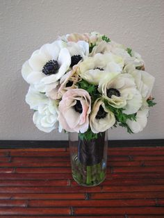 Michael's Flower Girl by Pamela - White anemone flower bouquet - perfect for a winter wedding!