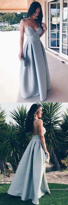 A-Line Spaghetti Straps Floor-Length Grey Satin Backless Prom Dress PG564 #promdresses #eveningdresses #partydresses #pgmdress #fashion