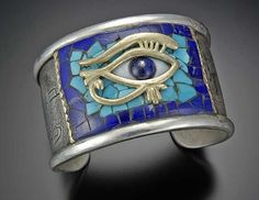 Egyptian Eye of Horus Bracelet with Lapis, Turquoise and Gold Ore in Quartz Inlay