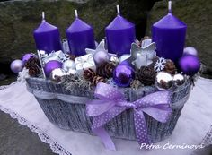 Purple Candles in Purple Basket Christmas Advent Wreath, Advent Wreaths, Christmas Candles, Christmas Holidays, Christmas Arrangements, Christmas Centerpieces, Christmas Decorations, Purple Candles, Candle Making Business