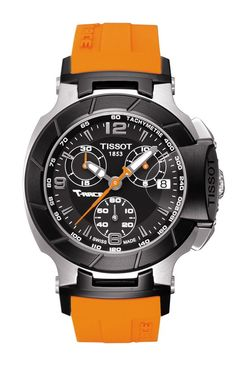Tissot T-Race Lady series is a cocktail of color with its roots at the racetrack. Motorbike-racing-inspired elements get glamorous and edgy, shown here in orange with black dial. This sporty timepiece boasts a dramatic design with bike-racing inspired elements. Constructed with a stainless steel case, scratch-resistant sapphire crystal shielding three chronograph dials and a date indicator. Features include Swiss quartz ETA movement, and silicone strap with folding clasp with push-buttons.