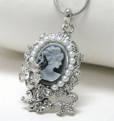 '☾☆ Gorgeous Moonlight Cameo Necklace' is going up for auction at  5pm Sat, Jul 13 with a starting bid of $5.