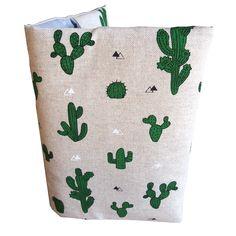 Protège carnet de santé aspect lin cactus