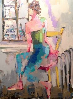 "Gary Bodner, ""Apartment with a View"", Oil on Canvas, 40x30 - Anne Irwin Fine Art"