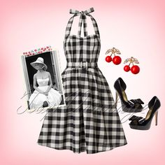 Be as beautiful as Brigitte in deze 50s Sophie Halter Check Swing Dress in Black and White!