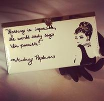 Hand painted Audrey Hepburn wallet