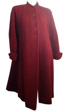 Winter Chic Brick Red Textured Wool Swing Coat circa 1940s - Dorothea's Closet Vintage