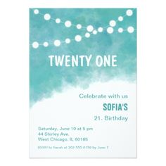 #modern - #Turquoise Watercolor Birthday Invitation